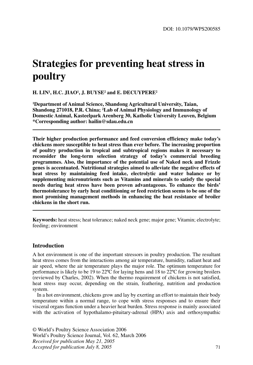 Strategies for preventing heat stress in poultry